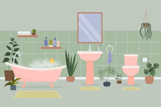 거품과 목욕 액세서리와 냄비에서 자라는 식물로 가득한 욕조가 있는 아늑한 욕실 인테리어