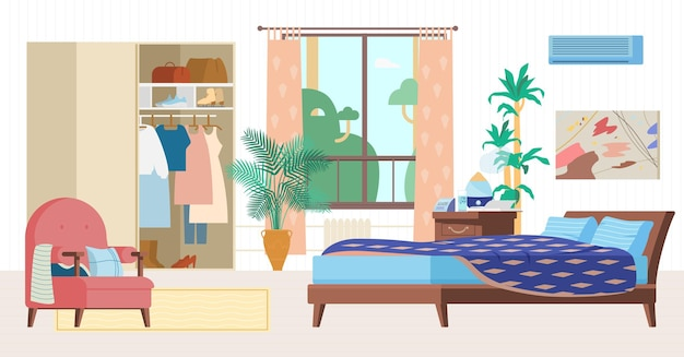 Cozy bedroom interior flat  illustration. wooden furniture, bed, armchair, wardrobe with clothes, window, bedside table with humidifier, clock, plants.