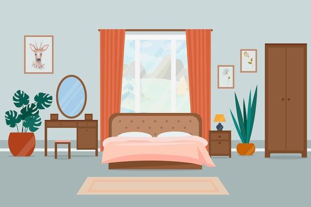 Уютный интерьер спальни. иллюстрация в плоском стиле.