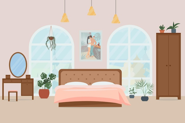 Cozy bedroom interior vector illustration in a flat style