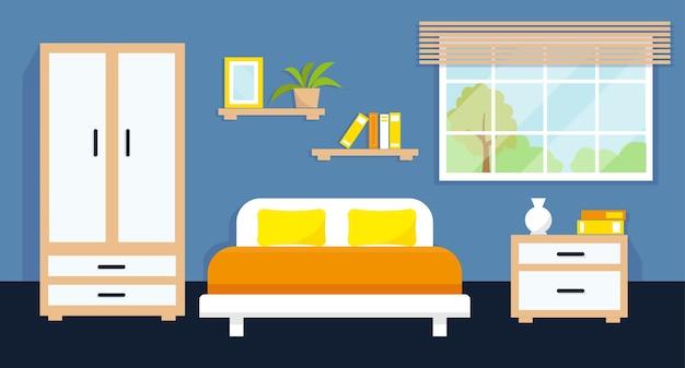 Уютный интерьер спальни с мебелью и окном. иллюстрация.