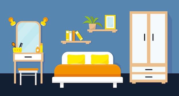 Уютный интерьер спальни с мебелью.