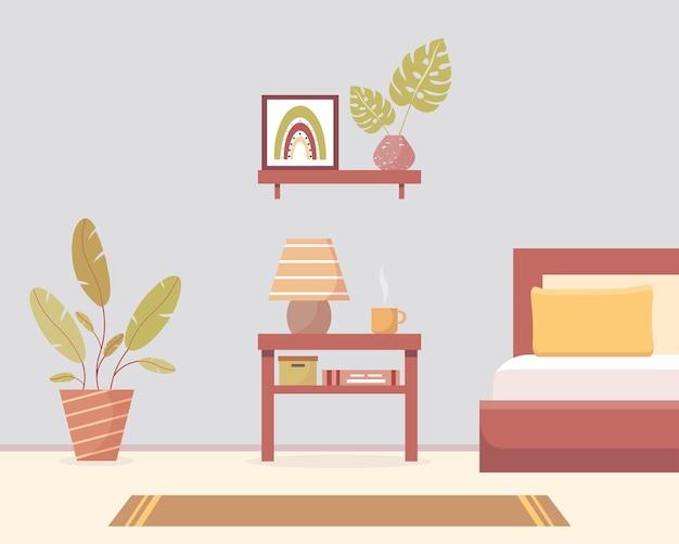家具付きの居心地の良いベッドルームベッドランプと植物のあるモダンなベッドルームのインテリア
