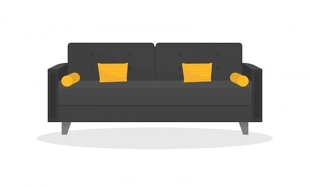 노란색 베개가있는 아늑한 블랙 소파. 로프트 스타일. 편안한 소파. 거실 용 가구.