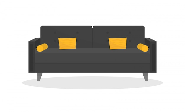 Cozy black sofa with yellow pillows. loft style. comfortable couch. furniture for living room.