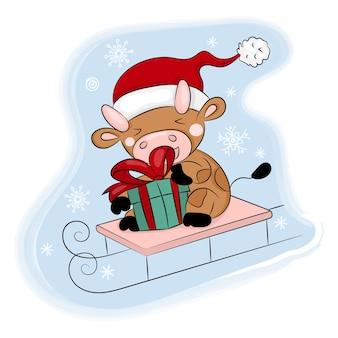 Cozy bull rides a sled new year merry christmas cartoon holiday illustration