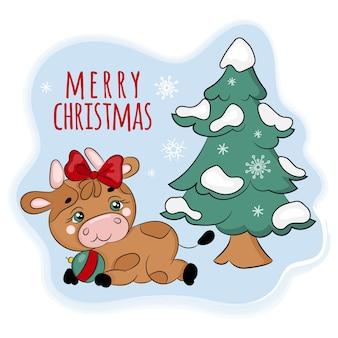 クリスマスツリーの下の居心地の良いブル。新年メリークリスマス漫画手描きイラスト