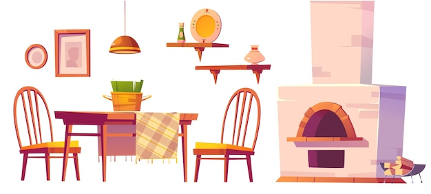 Cozy cafe or pizzeria interior with oven, wooden table and chairs, shelves and lamp.