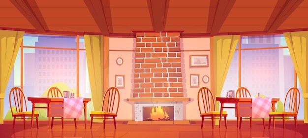 Cozy cafe or restaurant with fireplace and windows with city view