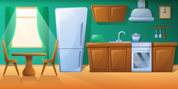 Уютная мультипликационная кухня с кухонной мебелью, векторная иллюстрация