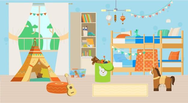 Интерьер уютной детской комнаты с игрушками и украшениями