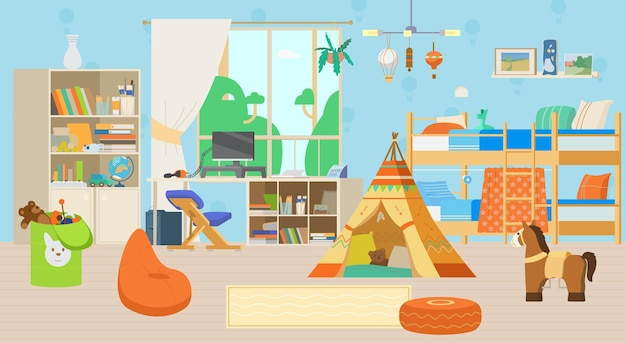 Cozy childrens room interior with toys and decorations