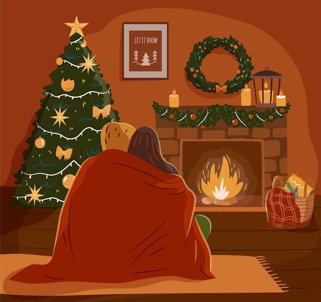 Cozy christmas evening concept. couple at a decorated fireplace. flat vector illustration