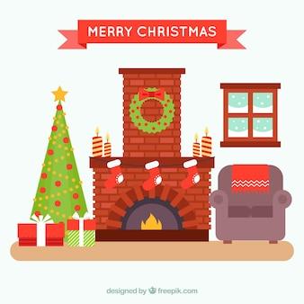 벽난로가있는 아늑한 크리스마스 거실