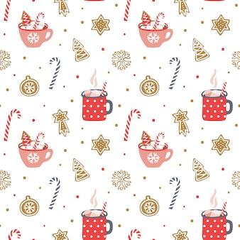 Cozy christmas seamless pattern.