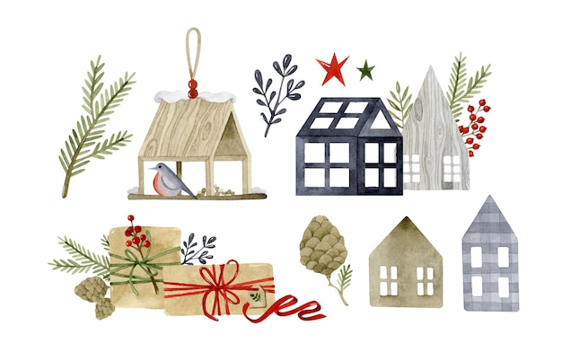 Cozy christmas watercolor elements set