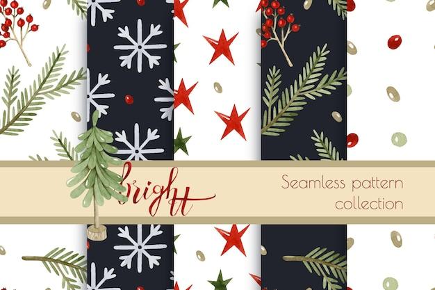 居心地の良いクリスマス水彩シームレスパターンコレクション