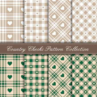 Cozy country gingham heart pattern collection green and beige