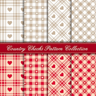 Cozy country gingham heart pattern collection red and beige