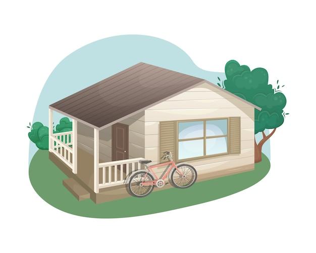 ベランダ付きの木で作られた居心地の良いカントリーハウス。郊外の住宅。民家。ファーム。農業、農業。