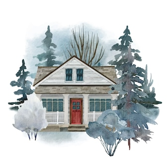 Cozy country house in watercolor design