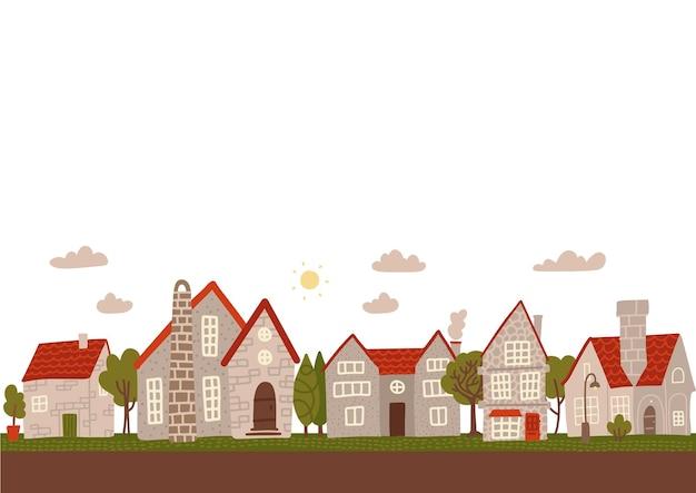 居心地の良い日の小さな町の通り。平らな漫画の灰色の都市の建物