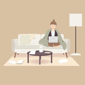 Уютный день, работая дома, оставаясь дома во время вспышки пандемического коронавируса covid-19, чтобы предотвратить распространение инфекции