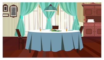 Cozy dining room with table illustration