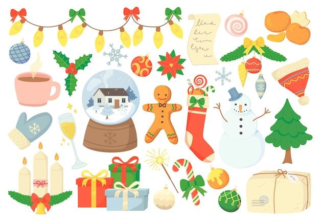 Уютный каракули рождественские элементы украшения и символ в мультяшном стиле