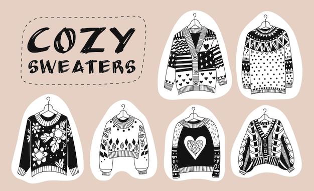 居心地の良い落書きセーター。さまざまな形の居心地の良い暖かいセーターのベクトルセット。手描きコレクションの孤立した要素。