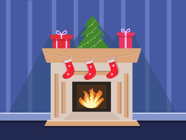 Cozy fireplace with christmas stockings illustration