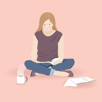 飲み物のある部屋で本を読んで居心地の良い女の子