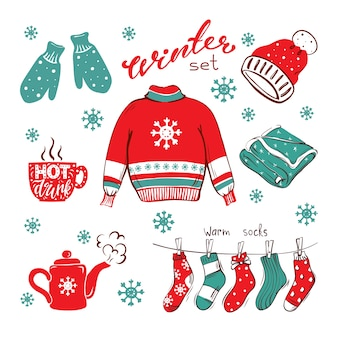 Уютный рисованной зимний набор на изолированном фоне одежда горячие напитки хюгге