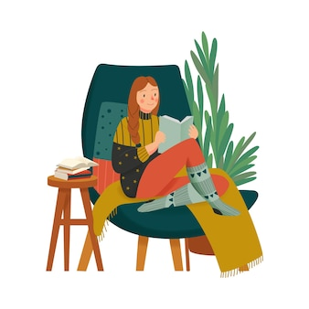 Cozy home composition with character of girl in warm clothes reading book in lounge chair illustration