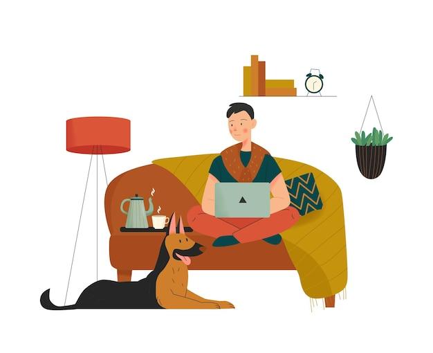 Composizione casa accogliente con ragazzo seduto sul divano con laptop e cane con illustrazione di elementi interni