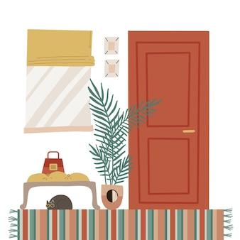가구와 아늑한 집 현관 인테리어. 스칸디나비아 스타일의 플랫 만화 스타일 일러스트
