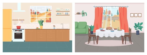 Cozy home flat color set. kitchen in household. thanksgiving serving on table in living room. house 2d cartoon interior with autumn in window on background collection