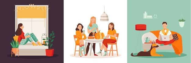 Уютная домашняя плоская концепция дизайна с людьми, отдыхающими и работающими в гостиной и кухне, изолированных иллюстрация