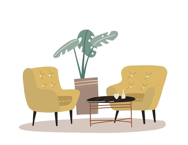 観葉植物のヤシ、コーヒーテーブル、2つの快適な黄色のアームチェアを備えた居心地の良い家のインテリア。スカンジナビアスタイルの快適な家のコンセプト。フラット手描きイラスト。