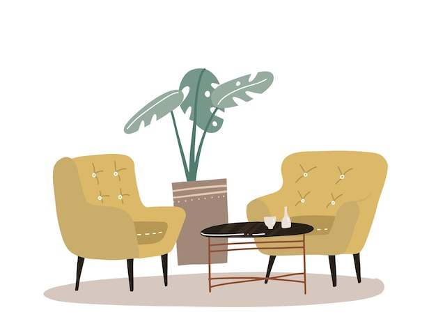 Cozy home interior with house plant palm, coffee table, two comfort yellow armchair. comfortable home concept in scandinavian style. flat hand drawn  illustration.