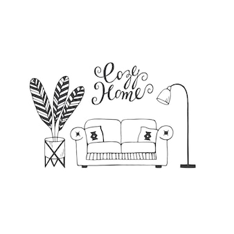 居心地の良い家のレタリング手描きベクトル落書きイラストソファ枕観葉植物とランプ