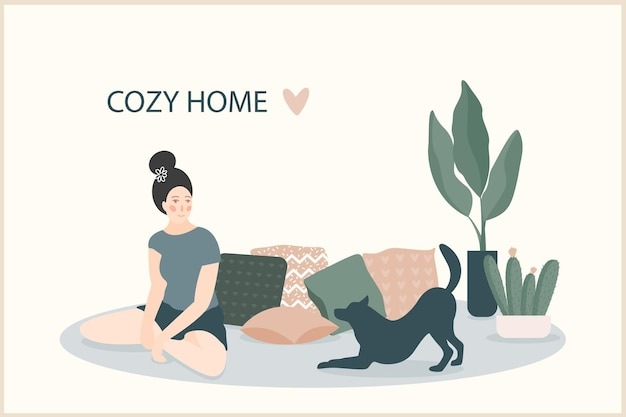 Cozy home theme handmade illustration.simple room interior for use in design for home  decorative prints, flower shop decor, wallpaper, bag or t-shirt print, art workshop  etc.