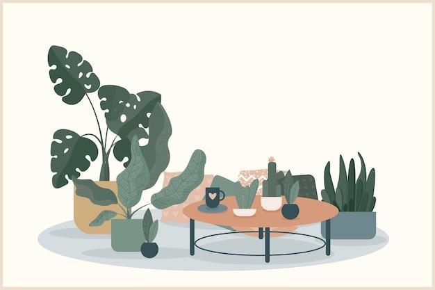 居心地の良い家のテーマの手作りイラスト。