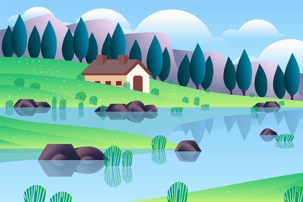 自然の春の風景の真ん中に居心地の良い家