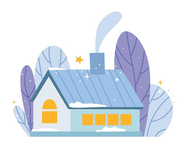 冬の森の居心地の良い家。煙突から煙が出て、窓から光が差し込む。温かい雰囲気。