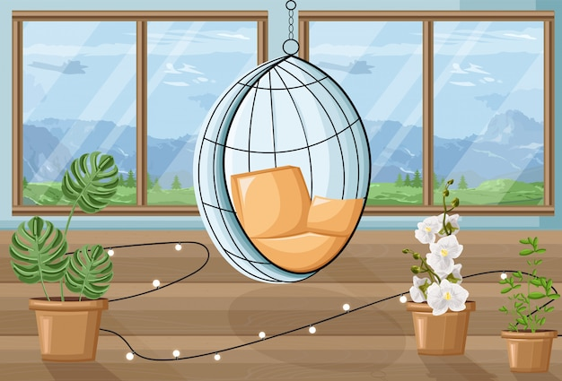 Cozy house with flowers and swing chair. mountains on background