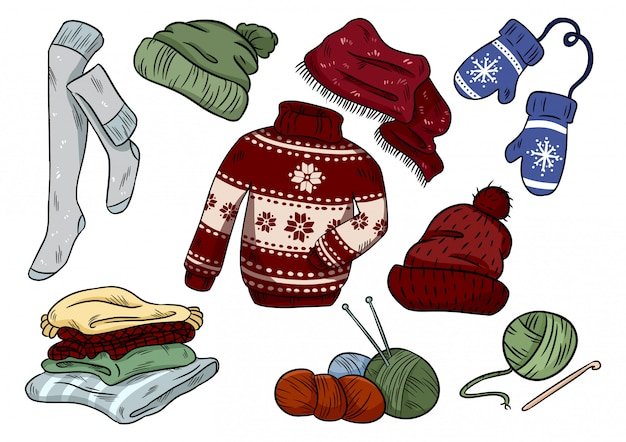 Cozy hygge doodles. cute clothes casual stickers. plaids, yarn, knitting, hat, sweater, stockings