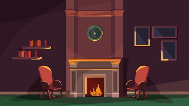 Cozy interior in cartoon style with fireplace and chairs