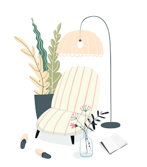 本を読んだりリラックスしたりするための居心地の良いインテリア。屋内アパートの雰囲気、ソファ、ランプシェードのデザイン。レジャーと日常のトイレ、空のインテリアイラスト。