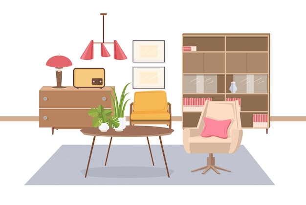 Cozy interior of living room furnished with old fashioned ussr or soviet furnishings - armchair, coffee table, lamp, radio transmitter, sideboard, pendant light